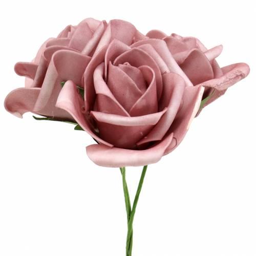 Róża piankowa Ø7,5cm Staroróżowa 18szt