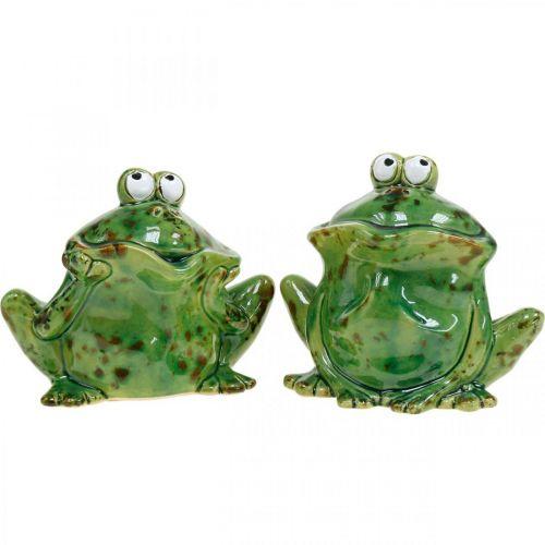 Para żab, dekoracja ceramiczna, dekoracja żaba, żaby siedzące