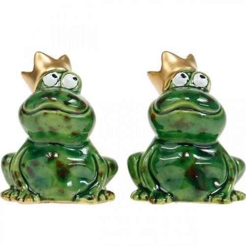 Żaba dekoracyjna, żabi król, dekoracja wiosenna, żaba z koroną złota 2szt.