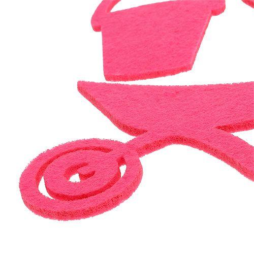 Narzędzia ogrodowe filc różowy 24szt