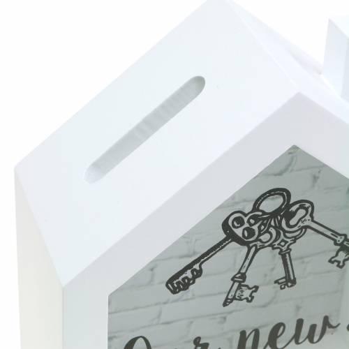 """Pudełko oszczędnościowe """"Nasz nowy dom"""" Drewno Szkło Białe 15x7cm H18cm"""