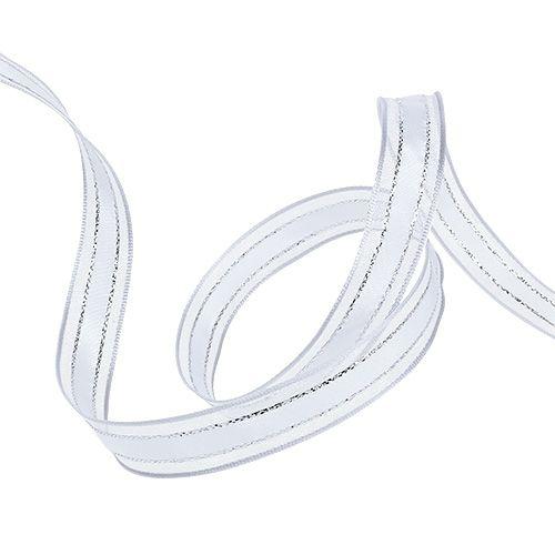 Taśma prezentowa z białą krawędzią z drutu 15 mm 20 m