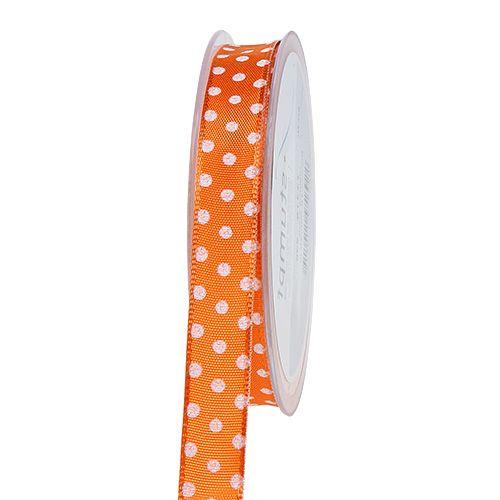 Wstążka prezentowa w kropki pomarańczowa 15mm 20m