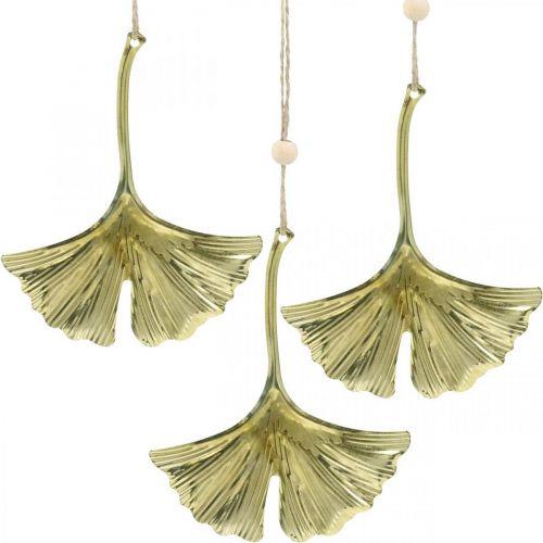 Ginkgo Leaf Pendant, dekoracja adwentowa, metalowa dekoracja na jesień Złota L12cm 12szt