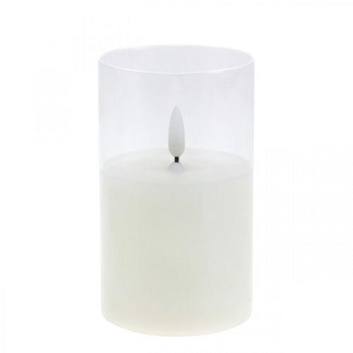 Świeca LED w szkle z efektem płomienia, świeca wewnętrzna ciepła biel, LED z timerem, zasilana bateriami Ø7,5 H12,5cm