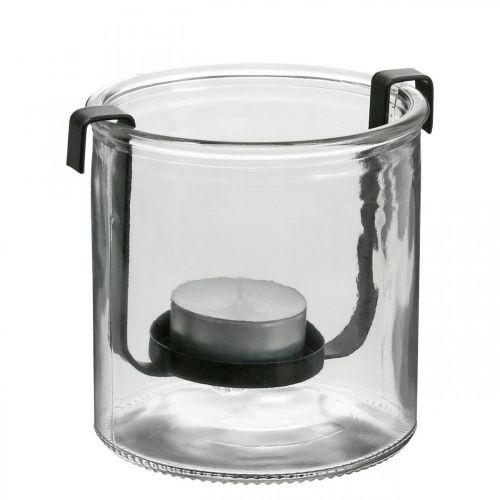 Lampion szklany z uchwytem na tealight czarny metal Ø9×H10cm