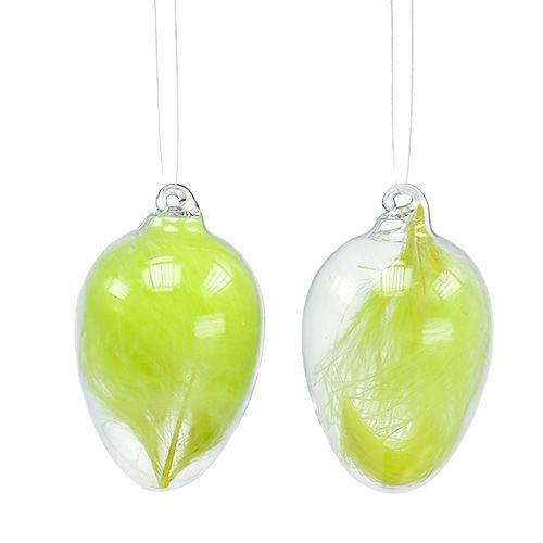 Szklane jajko z piórami do zawieszenia 6,5 cm jasnozielone 6szt