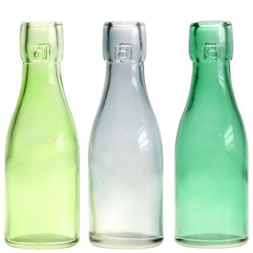 Wazon szklany butelka Ø5cm H16cm zielony/szary 6szt.