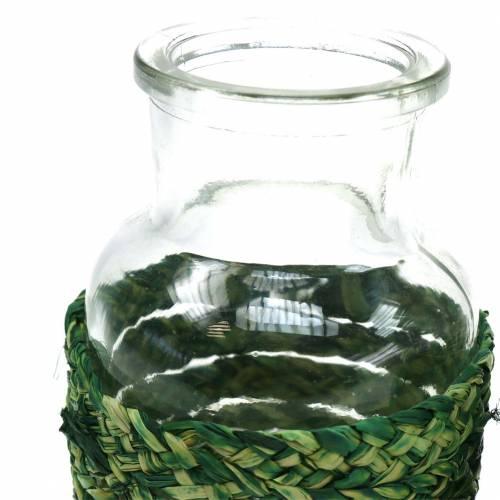 Butelka szklana z rafią zielona H10cm 4szt.