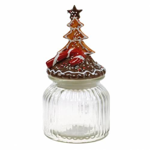 Puszka na herbatniki z ceramiczną pokrywką Piernikowa czerwona, brązowa słoik na ciastka wys