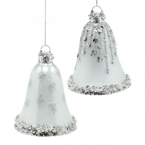Christmas Bells, ozdoby choinkowe, dzwony wykonane z szkła Ø6,5cm H8cm White Set of 2