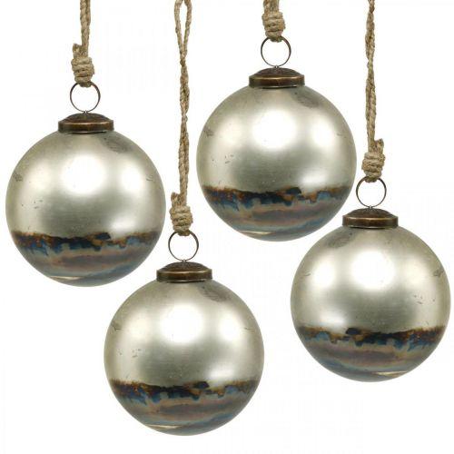 Kule świąteczne dwukolorowe szklane niebieskie, metalowe Ø9,5cm 4szt.