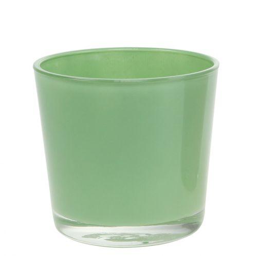 Doniczka szklana Ø10cm H8,5cm Miętowa zieleń