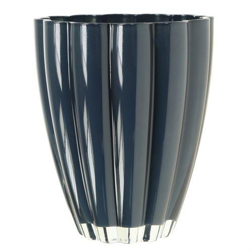 """Wazon szklany """"Bloom"""" Granatowy Ø14cm H17cm"""