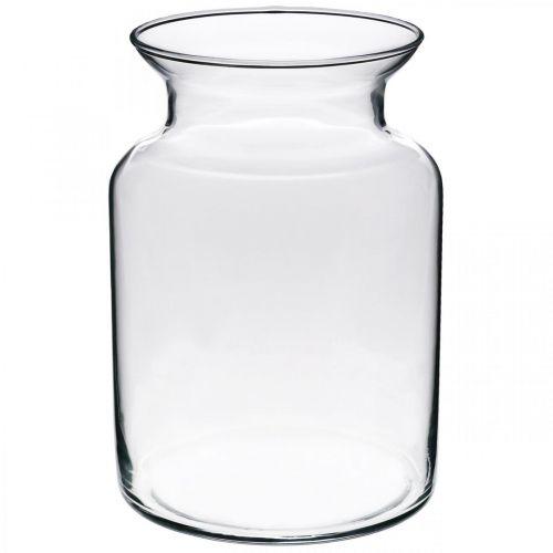 Szklany wazon na kwiaty szeroki bezbarwny Ø12cm H20cm