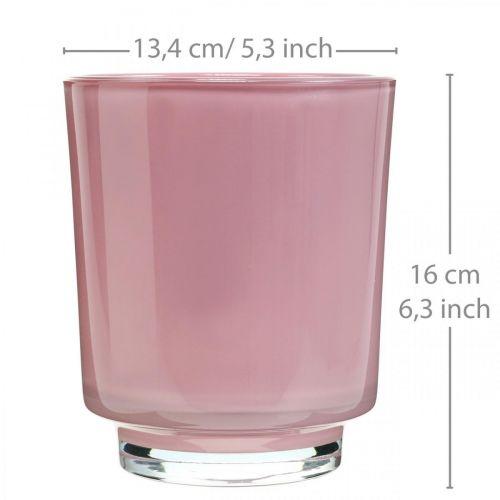 Szklana doniczka, doniczka na storczyki, wazon dekoracyjny różowy H16cm Ø13,4cm