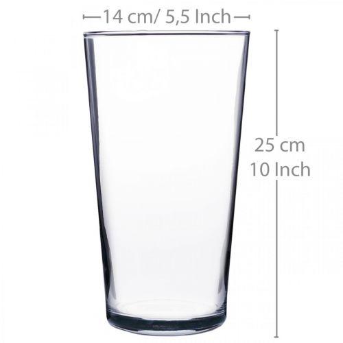 Wazon szklany stożkowy przezroczysty Ø14cm H25cm