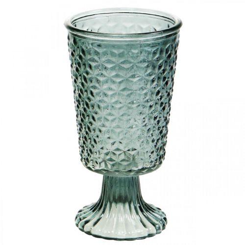 Lampka wiatrowa z nóżką, szkło pucharowe, szkło deco szare Ø10cm H18,5cm