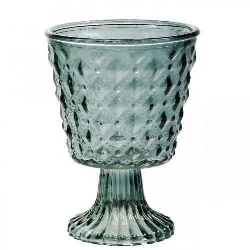 Puchar szklany z nóżką, lampion szklany Ø11cm H15,5cm