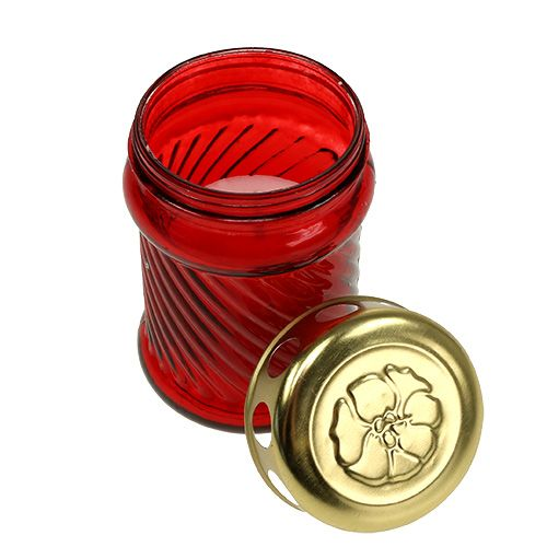 Znicze nagrobne szklane czerwone Ø6cm H11cm 12szt.