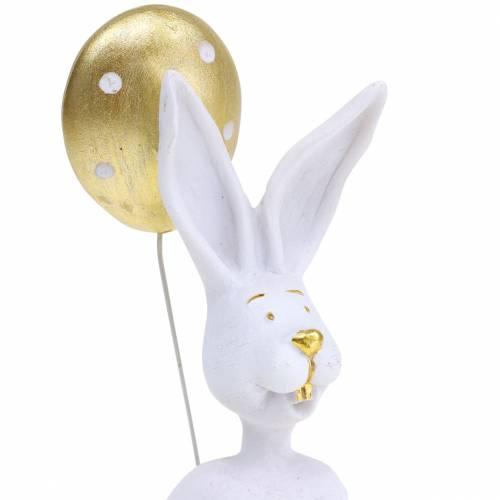 Króliczek z balonem siedzący biały, złoty H13,5cm 2szt.