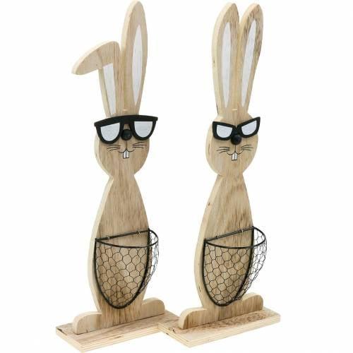 Drewniane zajączki z okularami przeciwsłonecznymi i koszykiem natura, dekoracja wielkanocna, figurka królika z koszem na rośliny, dekoracja wiosenna 2szt