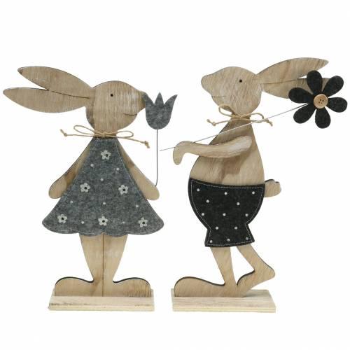 Drewniana figurka dekoracyjna króliczka z filcu 30/31,5cm 2szt.