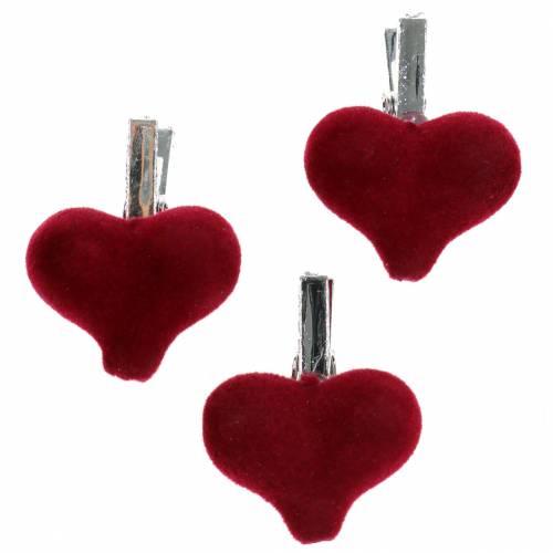 Serce dekoracyjne z klamrą czerwone 3cm 8szt.