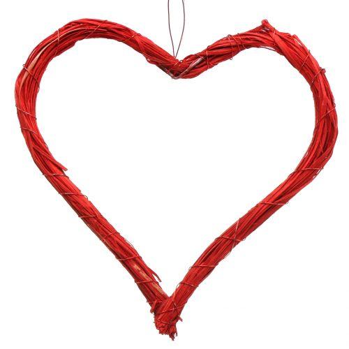 Serce rafia do zawieszania czerwone 20cm 6szt
