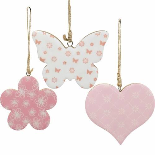 Wisząca dekoracja serce kwiat motylek biały, różowy drewno dekoracja wiosenna 6szt