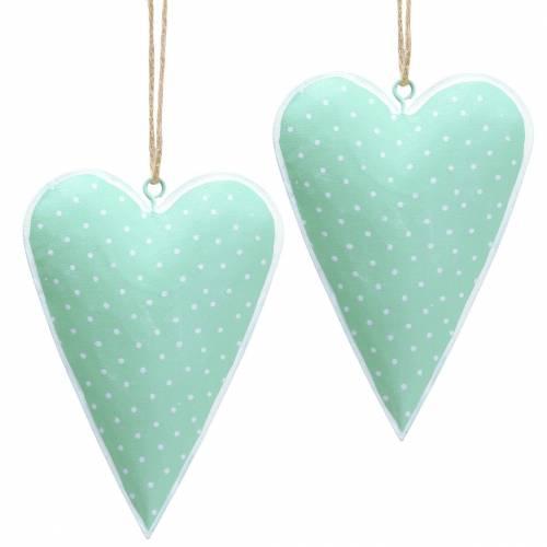 Zawieszka serce metalowa zielona, biała w kropki H11cm 6szt