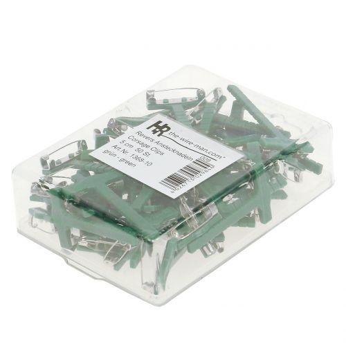 Przypinki ślubne zielone, srebrne 2,6cm x 5cm 50szt.