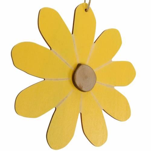 Drewniane kwiaty do powieszenia, dekoracja wiosenna, kwiaty z drewna żółte i białe, kwiaty letnie 8szt.