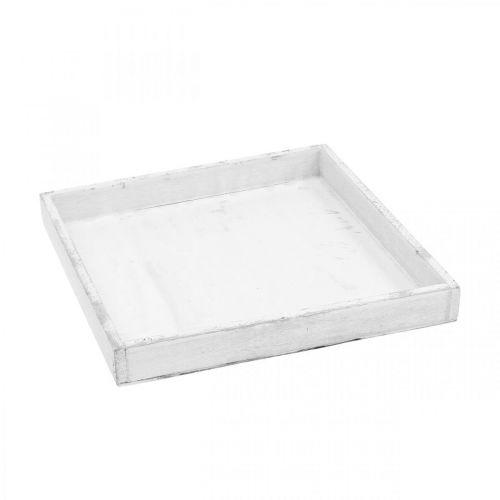 Deco Tray White Kwadratowa taca drewniana Shabby Chic 24,5×24,5cm