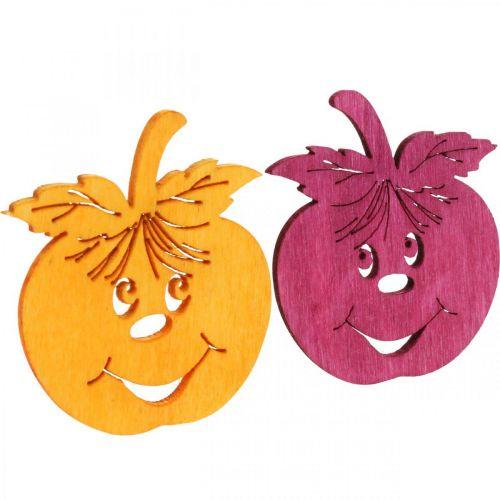 Dekoracja rozsypanka Śmiejące się jabłko, jesień, dekoracja stołu, drewniane jabłko Pomarańczowy, Żółty, Zielony, Różowy wys. 3,5cm szer. 4cm 72szt.