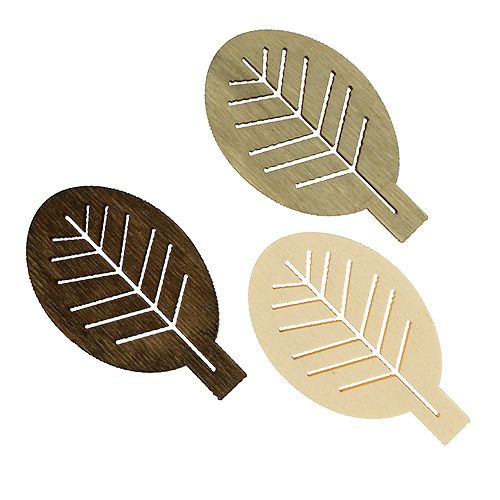 Różne drewniane liście 4cm naturalne 72p