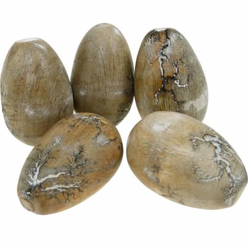 Jajka ozdobne kurze, pisanki z drewna mango naturalne 12szt