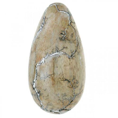 Jajko Wielkanocne Mango Wood Natural White Washed Dekoracja Wielkanocna Drewno H16cm