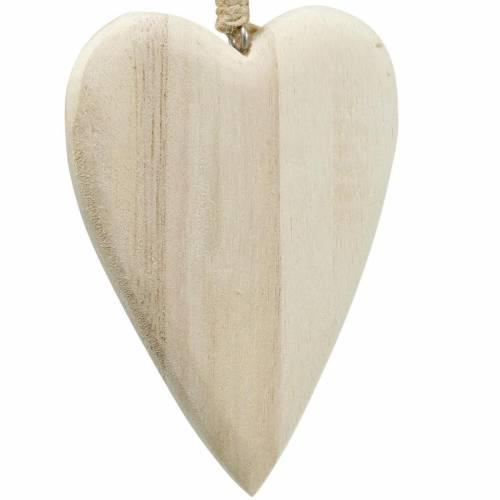 Serca drewniane wiszące naturalne 10cm 4szt.