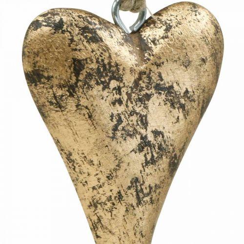 Drewniane Serce Efekt Złota, Walentynki, Dekoracja Ślubna 10×7cm