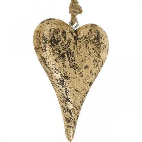Wiszące Serce Drewniane Złote Vintage Wieszak 15cm