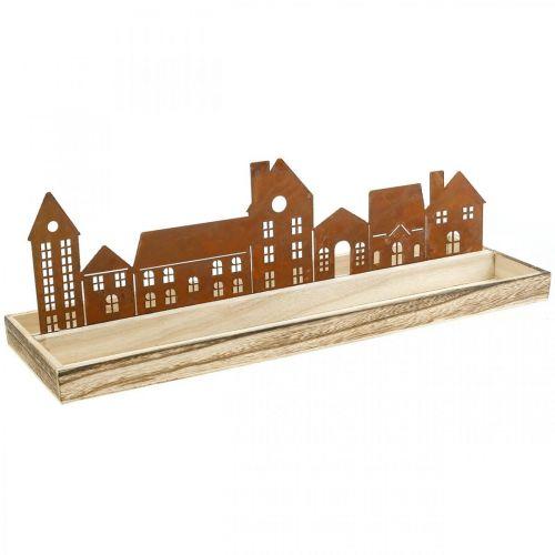 Dekoracyjna taca drewniana prostokątna z domkami ze stali nierdzewnej 50×17cm