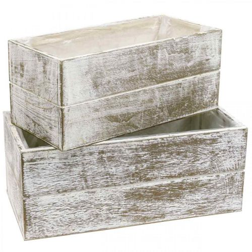 Planter Box Wood Vintage Cream, Brown 32×16/28×13cm Zestaw 2 szt.