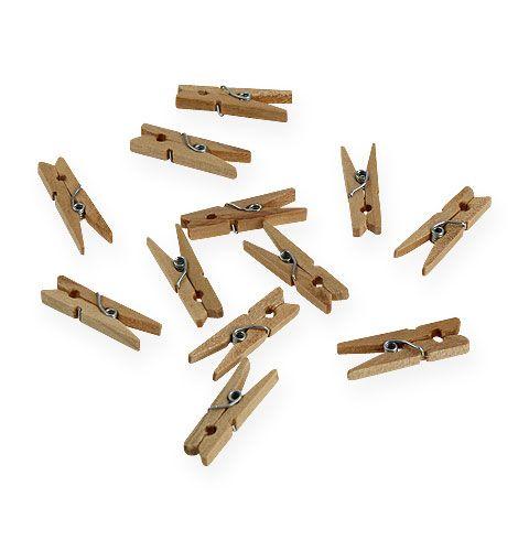 Ozdobne drewniane klipsy 3cm naturalne 72p