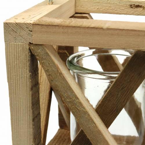 Lampion drewniany Deco ze szkłem natura 14x14cm H17cm