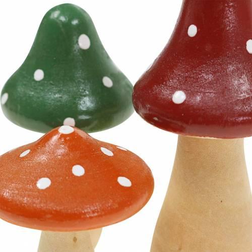 Dekoracyjna drewniana mucha agarowa pomarańczowa, zielona, czerwona 6/8/10,5cm 9szt.