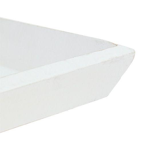Miska drewniana 25cm x 25cm w kolorze białym