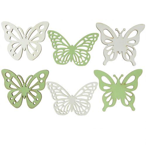Motylek drewniany zielony/biały 5cm 36szt