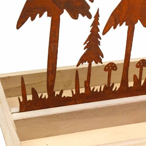 Taca drewniana sylwetka lasu stal nierdzewna 30cm x 15cm