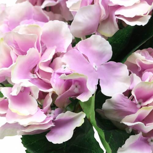 Kwiaty jedwabne hortensja w doniczce liliowa 35cm